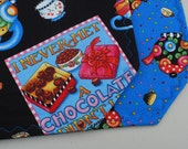 Set of 4 Reversible Quilted Placemats -Mary Engelbreit Tea Decadence Cotton Quilting Fabric - chocolate/teapots/floral/cherries