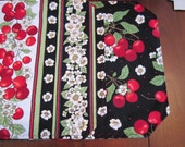 Set of 4 Reversible Quilted Placemats -  Cherries With Cherry Blossoms Stripe on Black  - Timeless Treasures/cotton/cherries/floral/red