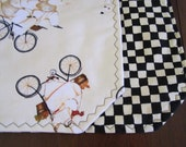 Reversible Cotton Quilted Table Runner - Bistro Bicycling Chefs on Cream with Black and Ecru Checkerboard - fat chefs/cooking/bicycles/paris