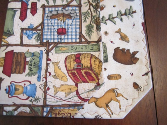 Set of 4 Reversible Cotton Quilted Placemats - Pine Creek Lodge - VIP Fabrics/Leslie Beck/camping/outdoors/wildlife/deer