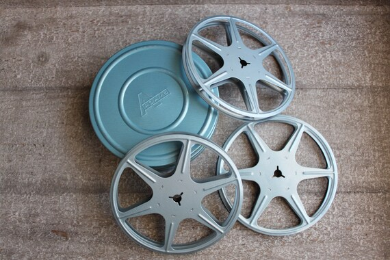 Vintage Blue Metal Film Reels Canister Industrial Decor