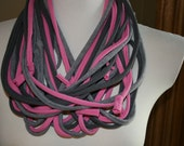 Pink and Gray Tee Shirt Scarf