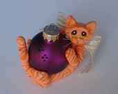 Polymer clay Orange Tabby cat Christmas ornament personalized tiger cat figurine