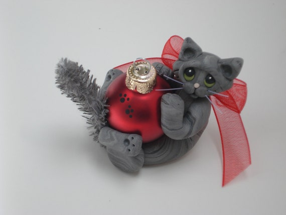 Polymer clay Gray Silver Tabby cat Christmas ornament personalized figurine