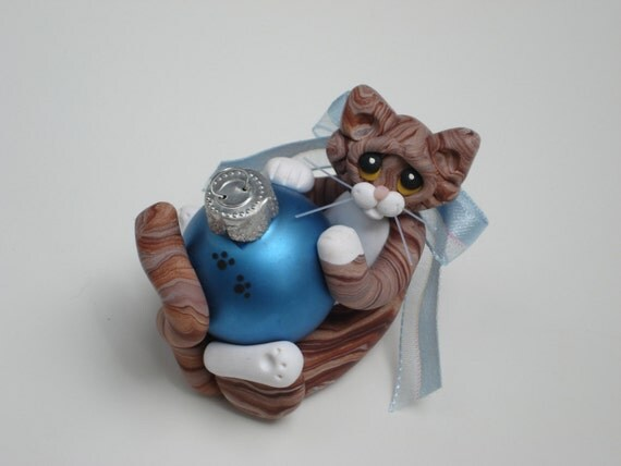 Polymer Clay Brown Tabby Cat Christmas Ornament Personalized Figurine