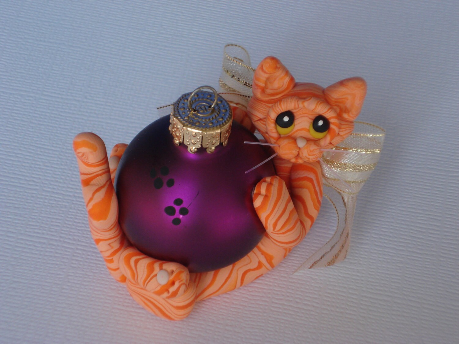 Personalized cat christmas ornaments -  Christmas Ornament Personalized Tiger Cat Figurine Zoom