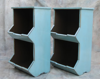 1(one) x Amy Madera Night Stand - Bedside Table -2 Cubbies Handmade Rustic Furniture (1 Nightstand per order)