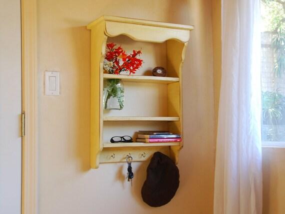Shelf-Shabby Chic Wall Shelf With Mason Jar Vase - AVAILABLE NOW