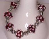 Plus Sized Cranberry Lampwork  Bracelet