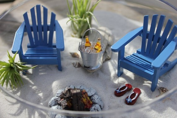 Miniature Beach Vacation With A Campfire And Bucket Of Ice