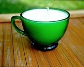 Cool Citrus Basil Scented Soy Tea Cup Candle