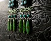Blue Green Aqua Earrings - Artistic Jewelry - Beach Wedding - Mermaid Colors - Unique Boho Earrings