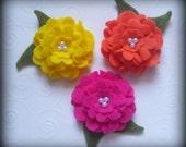 Set of 6 Peony Felt Flowers Hot Pink Yellow Orange
