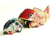 Vintage Tin Toy Whale Eats Fish, Fish Retro Toy, Winding Mechanism Gadget. HUGE DISCOUNT