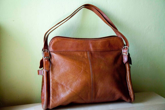 1960 Vintage Bag Handbag/shoulder bag/ Leather bag/ Brown bag/from Italy