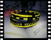 Black and yellow multi wrap, seed bead and memory wire cuff bracelet