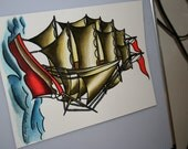 RESERVED FOR BRIAN Nautical Sailor's ship Tattoo inspired original painting