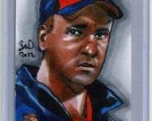 Peyton Manning Denver Broncos aceo original aoj full color 1/1 sketch card