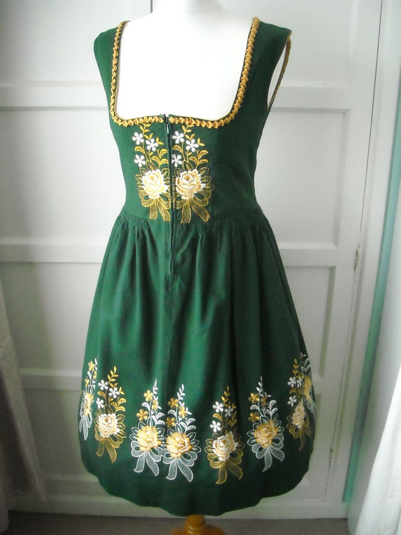 1960s Dirndl Dress - Vintage 60s Austria German forest green Embroidered Oktoberfest