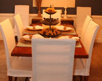WHITE SALE Dining Chair SLIPCOVERS with french pleats