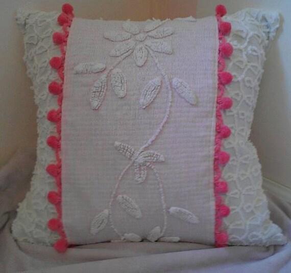 Soft  Pink &  white Chenille  Sham w ball fringe