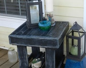 Shabby Chic Distressed Side Table- Indoor/Outdoor