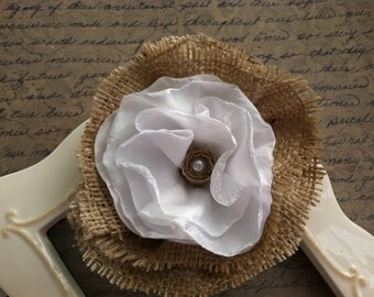 Rustic Elegance. Burlap and satin flower. Perfect for weddings and more..