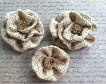 Burlap Flowers.. set of 3