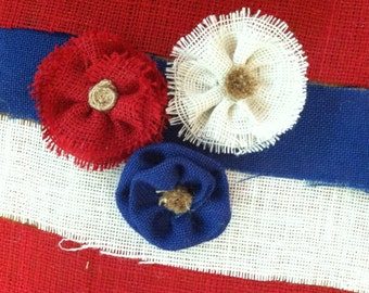 Red, White and Blue... Burlap flowers