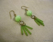 Jade-Tone and Antique Copper Asian-Inspired Earrings