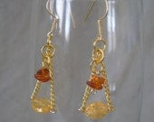 Custom Order for Beth Amber and Czech Glass Dangle Chain Gold Earrings