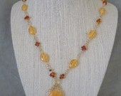 Amber, Honey Jade, and Czech Glass Gold Necklace