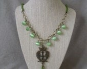 Jade-Tone and Antique Copper Asian-Inspired Fish Necklace OOAK
