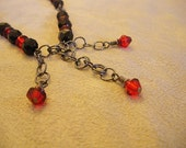Red and Black Czech Glass Necklace