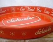 Vintage Beer Tray, Schaefer Lager Beer - Red Mid Century Retro Barware
