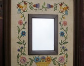 RESERVED FOR BERNADETTE - Vintage Needlepoint Mirror, Retro Floral Cross Stitch Crewelwork