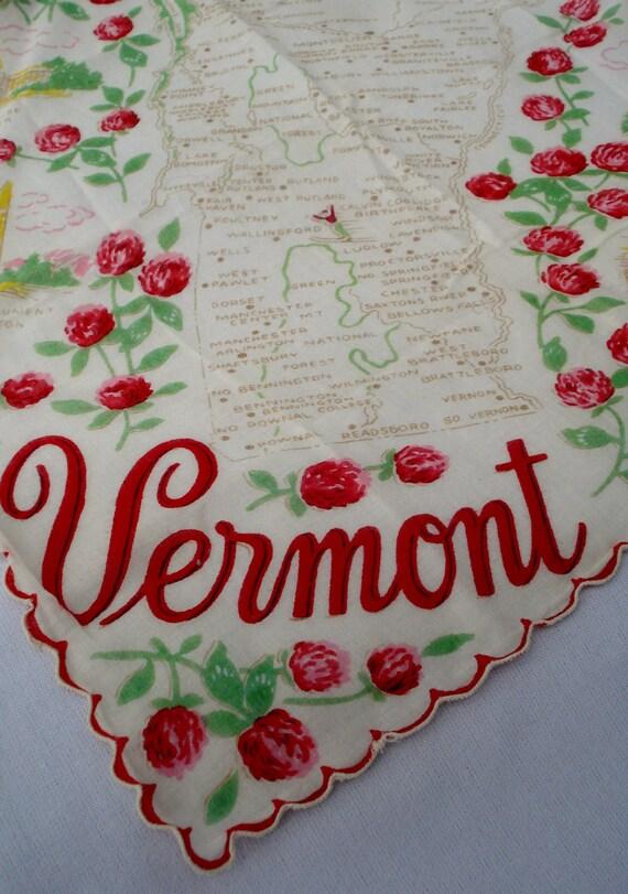 Vermont Souvenir Handkerchief, Vintage Vermont Travel Souvenir