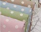 Fat Quarter Pastel Background Polka Dots Linen Fabric Package (4 pcs 1/4 yard each), Home Decor Fabric, 8833