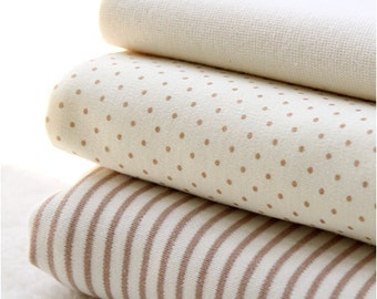 Organic Cotton Interlock Knit, Baby Brown Polka Dot or Stripes per Yard 17323-310