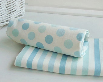 Oxford Cotton Pastel Blue Polka Dots or Stripes By the Yard 253