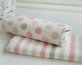 Oxford Cotton Pastel Pink Polka Dots or Stripes per Yard 254