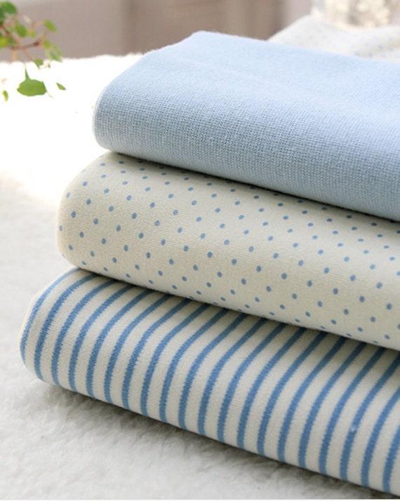 Organic Cotton Interlock Knit, Baby Blue Polka Dot or Stripes per Yard