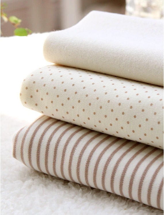 Organic Cotton Interlock Knit, Baby Brown Polka Dot or Stripes per Yard