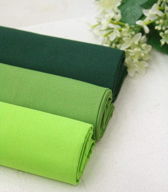 Custom Listing - High Quality Cotton Fabric Green Series in 3 Colors 1 yard 18748