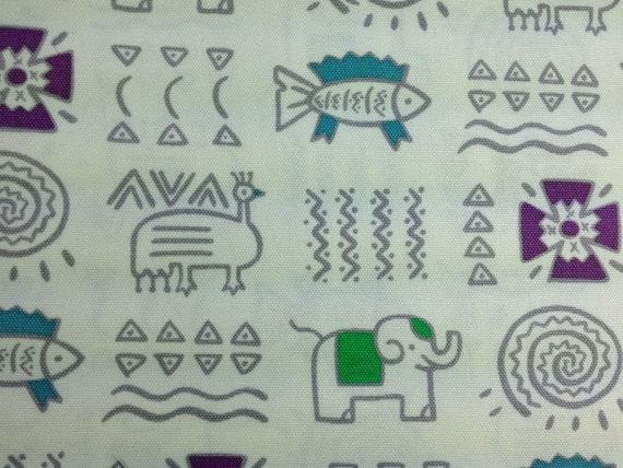 Oxford Ancient Drawings Pictograph Elephant Fish Phoenix Geometric Shapes 1 Yard 3602CH-215