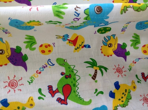 Clearance - Baby Cotton Jersey Knit Jacquard Baby Dinosaurs 1 Yard