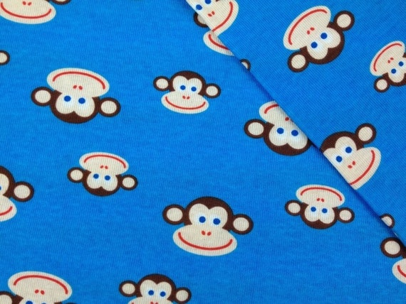 Cotton Rib Knit Fabric Blue Monkey 1 Yard