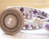 Flower Amethyst Double Leather Wrap Bracelet