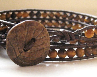 Tiger Eye Leather Wrap Bracelet - Triple