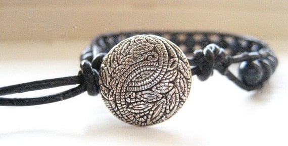 Dumortierite Leather Wrap Bracelet